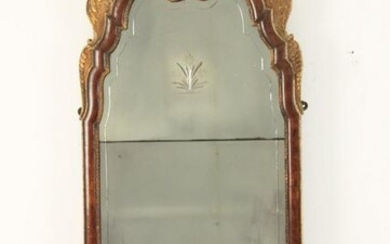 FINE Q.A. STYLE WALNUT AND PARTIAL GILT MIRROR