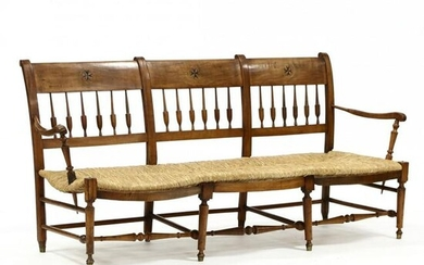 French Inlaid Cherry Triple Back Settee
