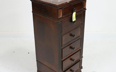 French Louis XVI Style Tall Night Stand - Marble Top