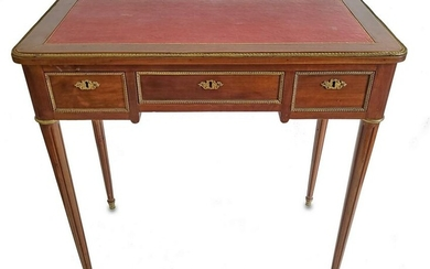 French Louis XVI style leather top desk