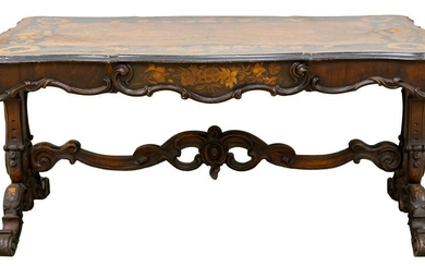 French Marquetry Center Table with Drawer