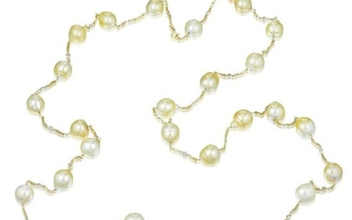 Golden Cultured Pearl and Diamond Necklace