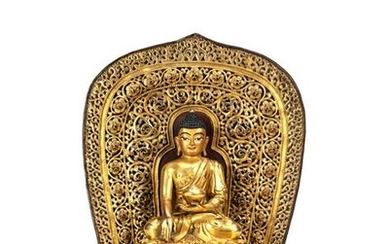 Gorgeous Gilt Bronze Figure of Shakyamuni on Throne