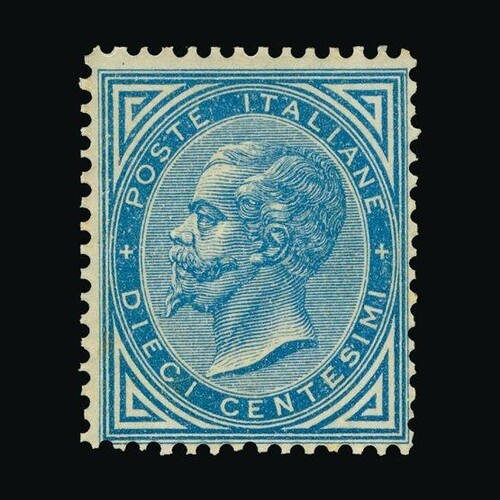Italy : (SG 21) 1877 10c blue, a rare unmounted mint example...