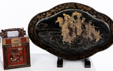 Japanese Lacquer Shaped Tray and a Chinese Box