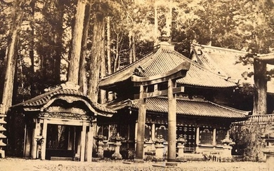 Japanese photographs mounted on card. Ancient buildings and ...