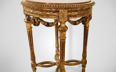 LOUIS XV STYLE GILTWOOD MARBLE TOP TABLE