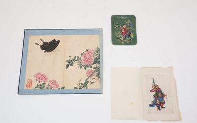 Late 19th Century Chinese school, ink and colour on silk, signed in red cartouche lower left corner; together with a fine painting of a south east asian warrior, ink and colour on rice paper, and a further small ink and colour on paper depicting a...