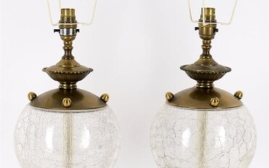 Lighting to include a pair of modern glass and gilt metal mounted table lamps