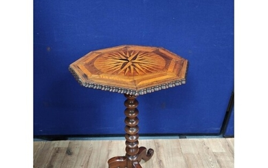 Mahogany marquetry occasional table, 19th century with marqu...