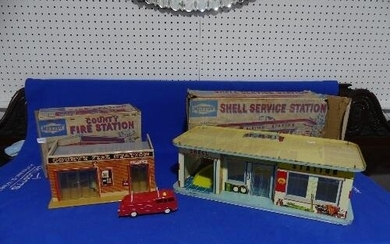 Mettoy County Fire Station, No.6277, tinplate, with Hong Kon...