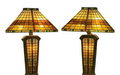 Nouveau Stained Glass Table Lamps after Tiffany