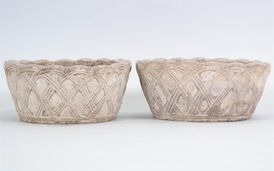 PAIR OF NEOCLASSICAL STYLE CAST CEMENT JARDINIERES
