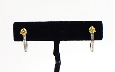 PAIR OF YELLOW AND WHITE DIAMOND EARRINGS, each a