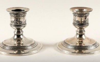 PAIR STERLING SILVER CANDLESTICKS CIRCA 1920