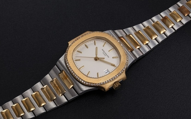 PATEK PHILIPPE, REF. 3800/2, A STEEL AND GOLD NAUTILUS WRISTWATCH WITH A DIAMOND-SET BEZEL