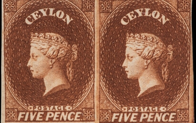 PENCE ISSUES - 5D CHESTNUT, WATERMARK LARGE STAR, IMPERFORATE MINT HORIZONTAL PAIR