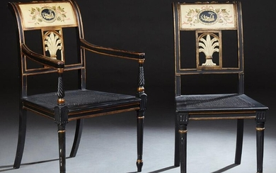 Pair of French Louis XVI Style Cane Seat Chairs, early
