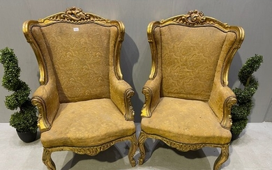 Pair of early 20th century French gilt chair
