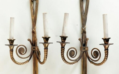 QUALITY PAIR BRONZE TASSEL FORM WALL SCONCES