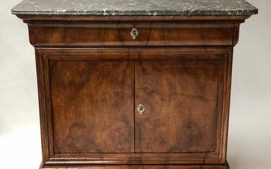 SIDE CABINET, 19th Century French Louis Philippe burr walnut...