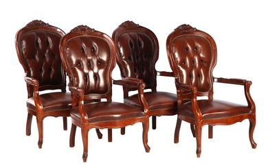 (-), Series of 4 armchairs with walnut frame...