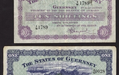 States of Guernsey, 10/-, £1, 1 August 1945, prefix 1/W, 3/G, (Pick 42a, 43a, Banknote Yearbook...