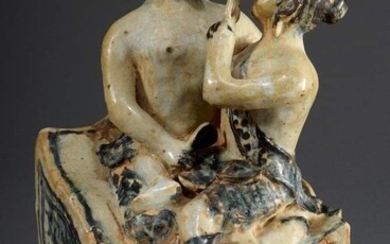 "Stoneware sculpture ""Lovers sitting on a pedestal"", glazed, with blue..."
