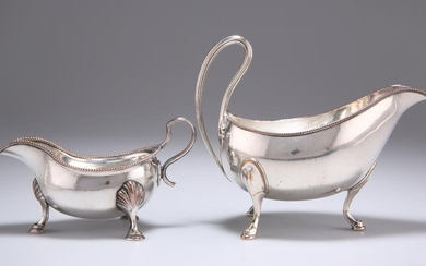 TWO OLD SHEFFIELD PLATE SAUCEBOATS, the smaller stamped