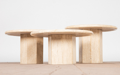 Three coffee tables / end tables, travertine, Italy, 1970s (3).