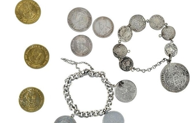 Two Coin Bracelets and Group of Coins