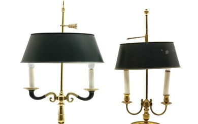 Two Empire style brass two-light table lamps