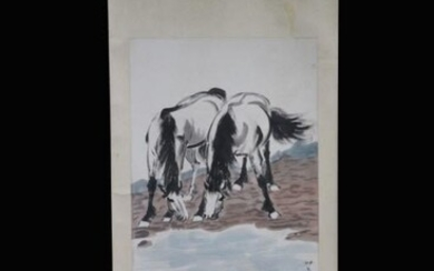 Two Horses, Chinese Ink Color Scroll Painting