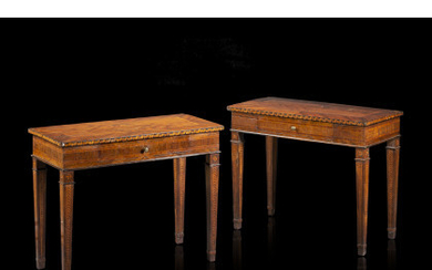 A pair of Piedmont 18th-century various woods veneered and inlaid centre tables (cm 97,5x79x48,8) (defects and restorations)Read more