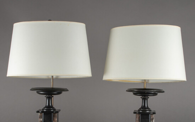 Two table lamps with chimney shells, France, around 1900 / 2nd half of the 20th century. (2).