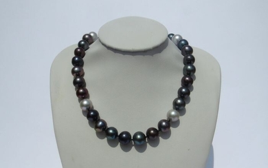 14 kt. Yellow gold - Necklace - 9.5-10.5mm Multi Tahitian Pearls