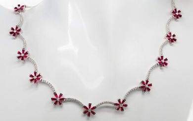 15.72ctw Natural Rubies and Diamonds - IGI Report - 18 kt. White gold - Necklace Rubies