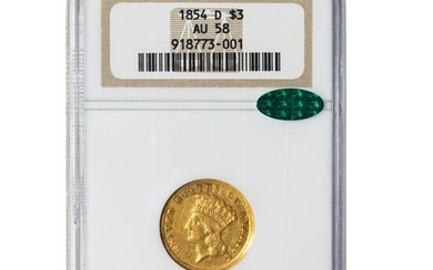 1854-D Gold $3 NGC AU58 CAC