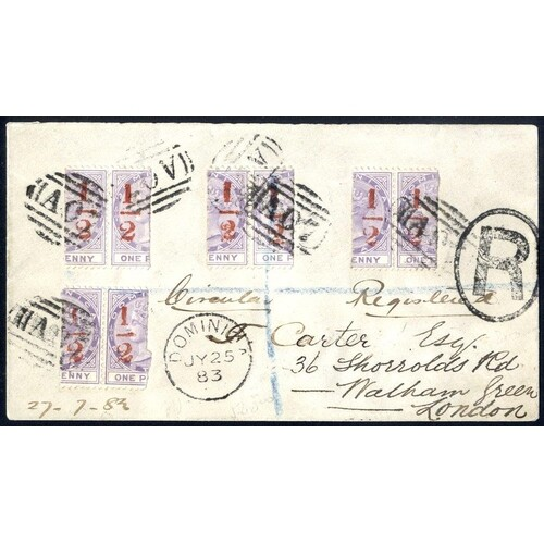 1883 reg envelope sent to London, franked four pairs of ½d S...