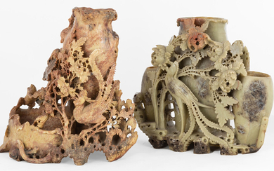 (2) Chinese Soap Stone Garnitures