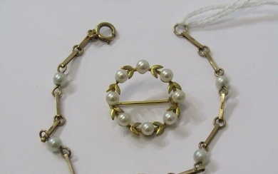 9ct YELLOW GOLD CULTURED PEARL WREATH STYLE BROOCH & culture...