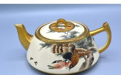 A 19th Century Japanese Satsuma Teapot with hand painted and...