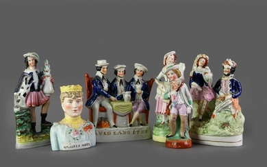 A COLLECTION OF VICTORIAN STAFFORDSHIRE FLATBACK FIGURES
