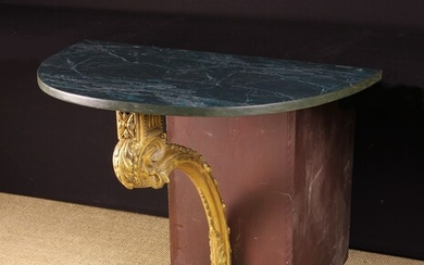 A Carved, Painted and Giltwood Console Table in the Louis XVI Style. The demi-lune simulated...