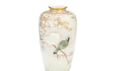 A FINE AND LARGE SATSUMA TAPERING OVIFORM VASE