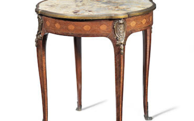 A French 19th century ormolu mounted mahogany, bois satine and marquetry gueridon