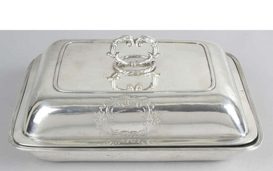 A George III silver entrée dish and cover.