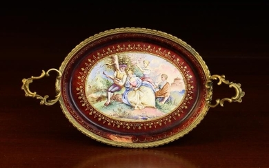 A Miniature Viennese Enamel Oval Tray with gilt bronze...
