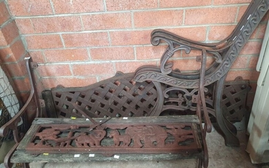 A PAIR OF CAST IRON BENCH ENDS