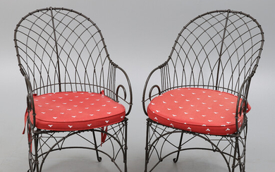 A PAIR OF REPRODUCTION VICTORIAN STYLE WIREWORK LOGGIA ARMCHAIRS.